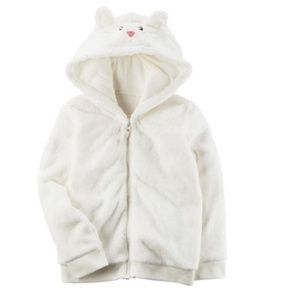 White Sherpa Hoodie Jacket with Ears 2T